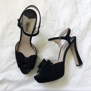 Miu miu suede bow heels